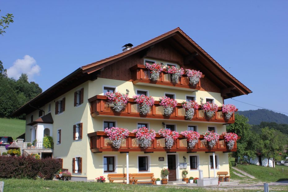 Modernes Bauernhaus mit Blumen auf Balkon