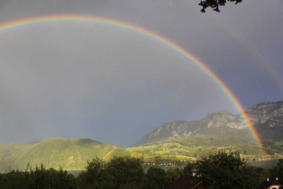 Regenbogen Ausblick Balkon